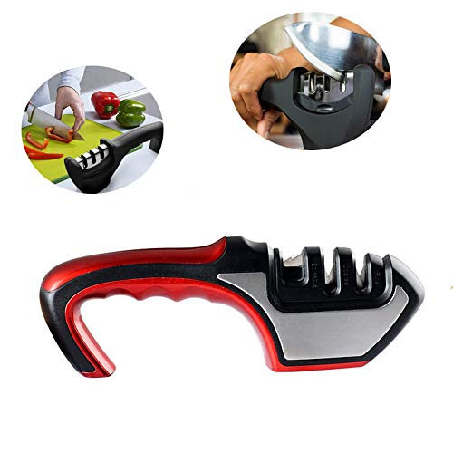 Houshiyu-521 3 fasi coltello temperamatite, abs + acciaio inox + acciaio al tungsteno + ceramica, utensile da affilatura rapida per cucina domestica multifunzione, per coltelli diritti e serrati,red