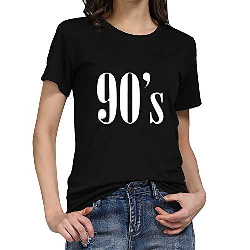 Mode Damen Shirt, lose Tunika Kurzarm 90er Jahre Brief T-Shirt lässig Oansatz Wild Tops Tägliche Party Dating Wear Basis Shirt(Schwarz,XXX-Large) (Plus Größe Tank-tops Mit Totenköpfen)