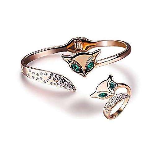 Yoursfs Ensemble bijoux or Bague et Bracelet de 18k plaqué en Emeraude et Cristal autrichien deux Renard adorable pour Femmes comme cadeau ou pour La Fête des Mères