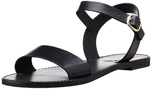 Steve Madden Flache Schuhe (Steve Madden Damen Flache Sandale, schwarzes Leder, 42 EU)