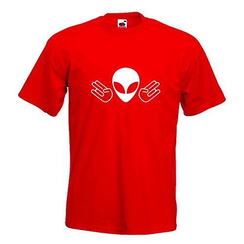 KIWISTAR - Alien Doppel Shocker T-Shirt in 15 verschiedenen Farben - Herren Funshirt bedruckt Design Sprüche Spruch Motive Oberteil Baumwolle Print Größe S M L XL XXL Rot