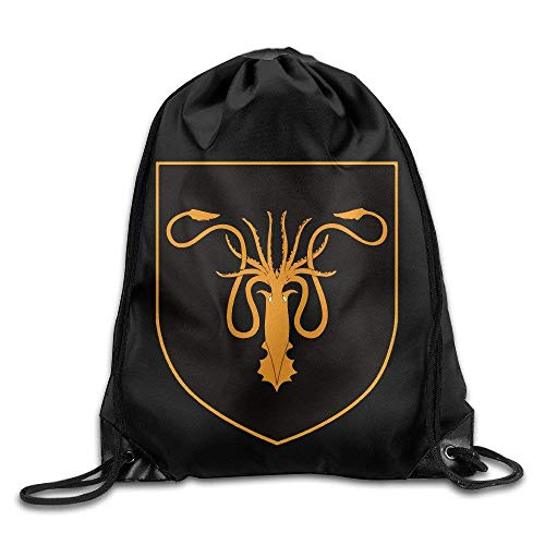 druckte Sportbeutel, Premium Drawstring Gym Bag Rucksack, House Greyjoy Coat Sigil Sport Backpack Drawstring Print Bag for Sports, Beach Holidays, Swimming, Travel ()