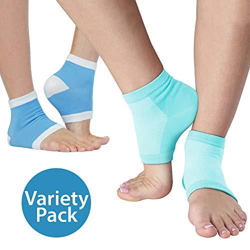 NatraCure Combo Atmungsaktive & Feuchtigkeitsspendende Gel Fersensocken - Anti Hornhaut & Fersensporn Socken, Hacken & Fersenschutz gegen Fersenschmerzen für Damen & Herren -