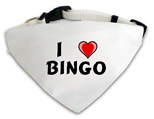 Personalisierter Weißer Hundschal mit Aufschrift Ich liebe Bingo (Vorname/Zuname/Spitzname)
