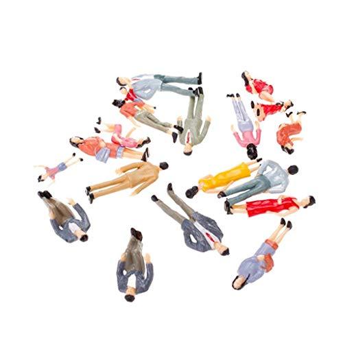 Naisicatar 20pcs G Maßstab 1:25 Mix Painted Modell Persönlichkeit Zug Park Street Passagier-Zahlen für die Modelleisenbahn-Züge scenesStandPlattform Passagiere Miniatur Figuren Interessante Spielzeug
