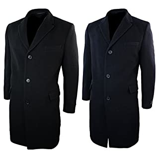A.C. Milan Mens Long Full 3/4 Cashmere Wool Overcoat Jacket Crombie Navy Black Premium Quality