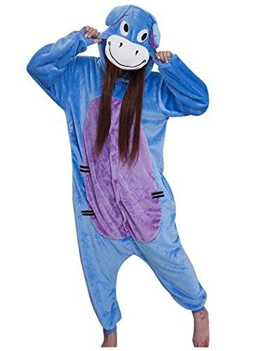 Warmes Unisex-Karnevals-Kostüm für Kinder, Einhorn Eule Zebra Giraffe Kuh, für Halloween Fest Party, als Pyjama, Tier-Kigurumi-Kostüm für Zoo-Cosplay, Einteiler - M/Höhe 125/135 cm - Eeyore
