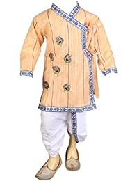 FOCIL Cream Peacock Feather Embroidery Kurta and Dhoti Pant Set For Kids