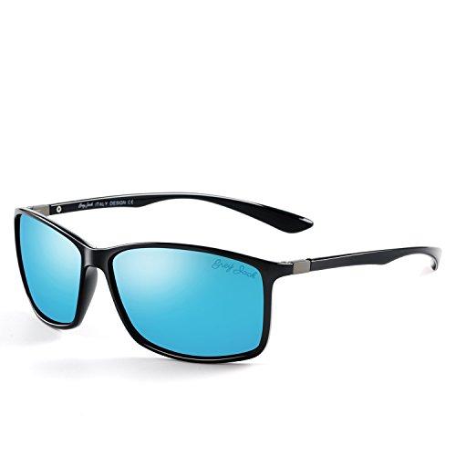 GREY JACK Classic Rectangular Polarized Sunglasses Fashion Eyeglasses for Men Women Black Frame Ice Blue Lens (Black Ice Womens)