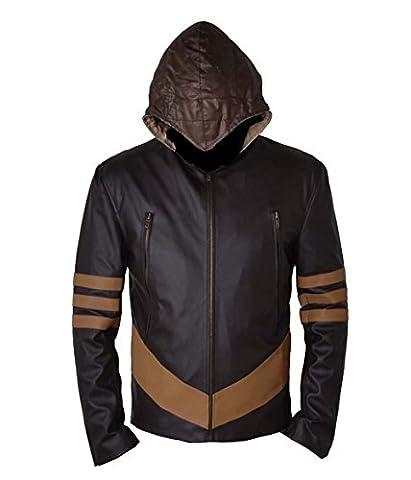 Xmen Wolverine Brown Faux Veste en cuir avec capuche amovible (MEDIUM)