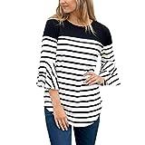 Luckycat Frauen Striped Patchwork Dreiviertelaufflackernhülse Hemden Blusen Mode 2018
