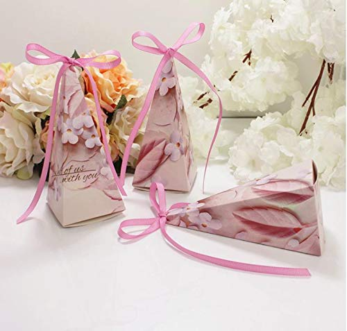 Flowow 50x fiore triangolo gelato cono portariso scatola portaconfetti scatolina bomboniere segnaposto con nastrino per matrimonio nozze compleanno battesimo comunione nascita laurea festa natale