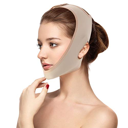 Gesicht Abnehmen Maske, Gesichtslifting Slimmerbelt V Gesicht Wange anheben kinn Face-Lifting Maske, Natürliches Facelifting gegen Doppelkinn Anti-Aging & Face Slimming Gesichtsbandage(L) - Gesichts-haut-anheben Haut, Face Lifting