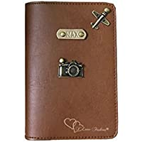 I Love Fashion Tan Brown colour Personalised Passport cover