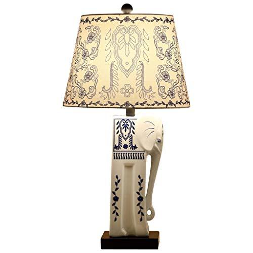 LAZ Keramik Schreibtischlampen Tischlampe Blau und Weiß Porzellan Lucky Elephant Nachttischlampe Stoffschirm for Wohnzimmer Familie Schlafzimmer Studie Kaffee (Color : Button Switch)