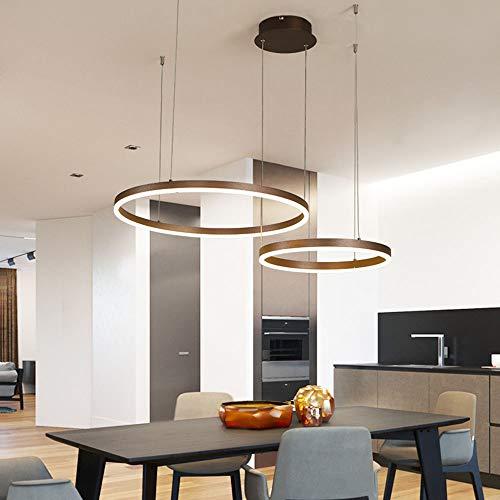Rund 58W LED Kronleuchter Pendelleuchte 2-Ring Dimmbar Deckenleuchte Höhenverstellbar Hängeleuchte Gold Aluminium und Acryl Wohnzimmer Esszimmer Esstisch Küchen Theke Pendellampe,60+80CM
