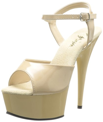 Pleaser Damen Delight-609 Plateausandalen Beige (Beige)