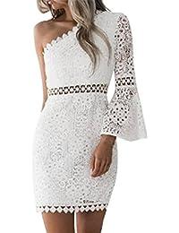 Kleid Damen Kolylong® Frauen Elegant Trägerlos Spitze Kleid Knielang  Vintage Langarm Spitzenkleid Bleistift Kleid… 2443303e9b