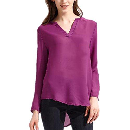 ASCHOEN Damen Elegant Bluse Hemd Oberteil Top T-shirt unregelmäßig Saum Violett