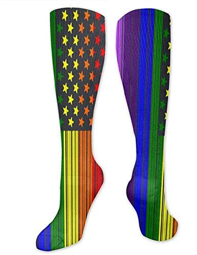JKHHG Frauen Hohe Strümpfe, Ultra Soft Barcode USA LGBT Flagge Lange Socken