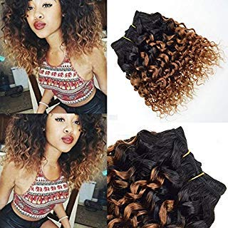 Barroko Hair 4 Pcs T1B/30 Afro Kinky Curly Ombre Blonde Hair Extensions Short Bob Human Hair Curly Weave Virgin Brazilian Hair Weave Bundles 8 Inch (Curly Hair Extensions Lila)