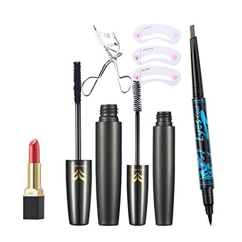Sharplace Set Outils de Maquillage à Femmes Mascara Noir 3D à Extension de Cils + Pince à Coube de Cils + Rouge à Lèvres Velvet Mat + Crayon à Sourcils et Eyeliner + Pochoir à Sourcils