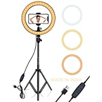VKB 10 Inch Selfie LED Ring Light with 360 Cell Phone Holder and 7.5 Foot Foldable Tripod Stand for Camera, Smartphone…