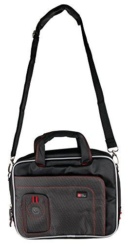 DURAGADGET Schwarze Umhänge Tasche rote Naht mit bequemen Schulterriemen für XIDO Tablet-PCs. Kompatibel mit: Z120 3G / X111 - Dash 3g