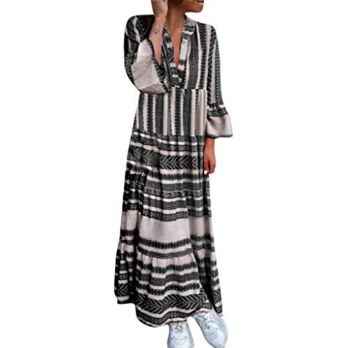 COZOCO 2019 Mode Frauen Casual Dress Sommer gedruckt Boho Dress v-Ausschnitt Strand Dress Party Lange Kleider böhmische Kleider