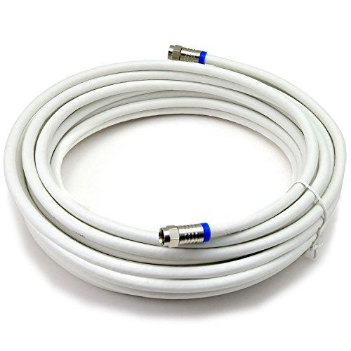 Kabel-sat-box (Satix Koaxialkabel mit 2 F-Kompressionssteckern, 20 m, 3-fach geschirmt 120 dB, weiß)