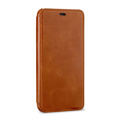 StilGut Schutz-Hülle kompatibel mit iPhone XS Max Book Type aus Echtleder, Cognac