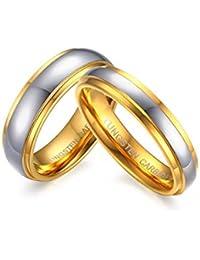 KNSAM - par de anillos de boda de acero de tungsteno para él y ella,