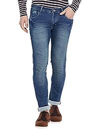 Stylox Men's Premium Slim Fit Whisker Blue Stretchable Jeans