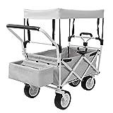 Chariot de Transport Pliable avec Toit Amovible Chariot de Jardin Pliable Charrette...