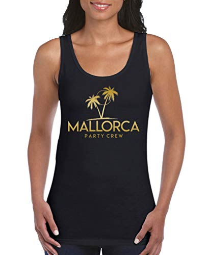 Comedy Shirts - Mallorca Party Crew - Style6 - Damen Tank Top - Schwarz/Gold Gr. XL Schwarz-gold-tv-serie