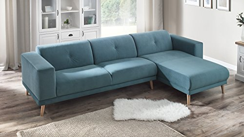 Bobochic LUNA Canapé d'Angle Droit Fixe 3 places avec Pouf Bleu Canard, 308 x 166 x 75 cm