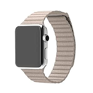 Senders Leather Loop Watch Band Strap for Apple Watch iWatch (Khaki 38mm)
