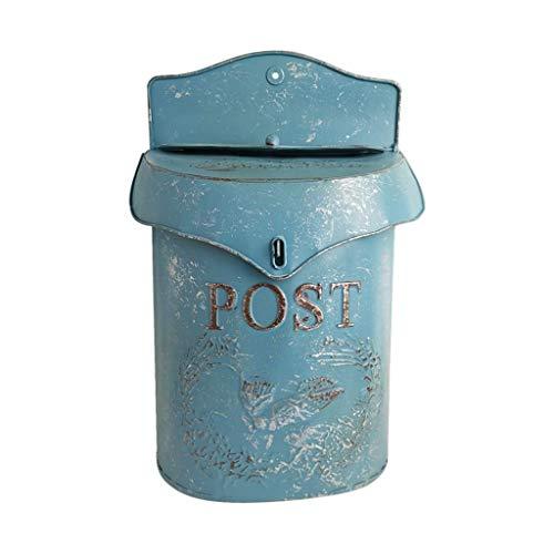 JINDEN Vintage Wand Briefkasten Charme Home Decor Bauernhaus Design (blau) -