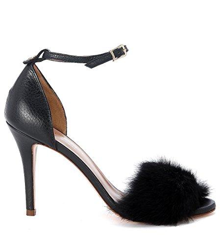 Sandalo Twin-Set in pelle e lapin nero Nero