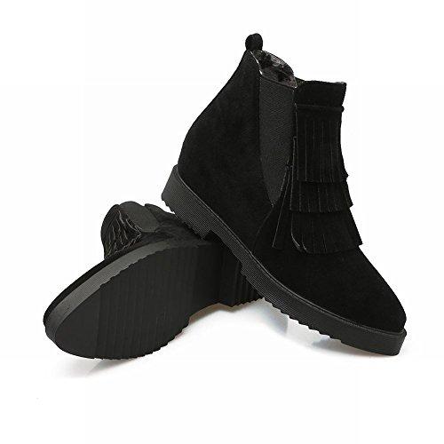 Mee Shoes Damen warm gefüttert Quaste chunky heels Plateau Ankle Boots Schwarz(Nubukleder)