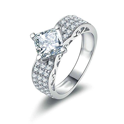 Daesar Silberring Damen Ring Silber Ehering für Damen Verlobungsring Benutzerdefinierte Ring Halo Platz Strass Ring Größe:58 (Kostüme Halo Benutzerdefinierte)