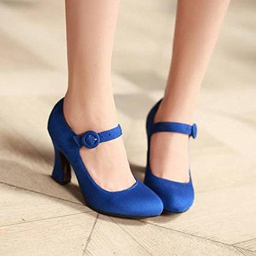 COOLCEPT Femmes Classique Mary Janes Escarpins Cheville Chaussures Talons Bloc Bleu
