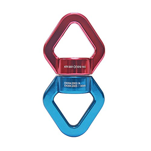 Signstek 30KN Safest Swing Swivel Rotational Device for Rope Climbing Hammock, Swing Setting, Aerial Dance (Red/Blue) Test