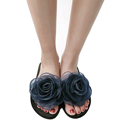 TAOFFEN Femme A Enfiler Flat Sandales Avec Fleur Chaussons A Plage Ete Bleu