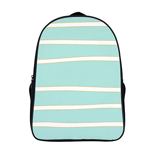XIAHAILE Kompakte Rucksack Büchertasche für Männer und Frauen, leichter Rucksack für Schul und Urlaubsreisen,Bio Weiß Streifen Mit Gold Rahmung Blaugrün