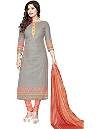 R P Collections Women's Grey & Peach Cotton Self Printed Dress Material With Dupatta