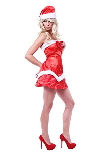 Kostüm Elf Sexy - DRESS ME UP - Kostüm Damenkostüm Rot Sexy Santa Elf Nikolaus Weihnachtsfrau Weihnachtselfe L087 Gr. S/M
