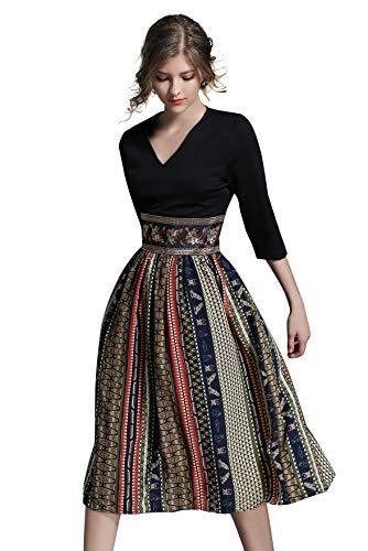 LAI&MENG Damen 2 in 1 Midi Kleid mit Blumenmuster Swing Casual A-Linie Cocktailkleid Partykleid, Streifenmuster, 34