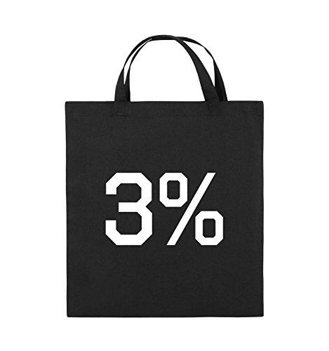 Comedy Bags - 3% - LOGO - Jutebeutel - kurze Henkel - 38x42cm - Farbe: Schwarz / Pink Schwarz / Weiss