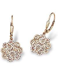 Amor Damen-Ohrhänger 3 cm Ornamente 925 Sterling Silber rosévergoldet Zirkonia weiß